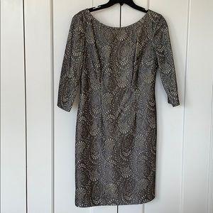 Eliza J gold / black lace dress 3/4 sleeves